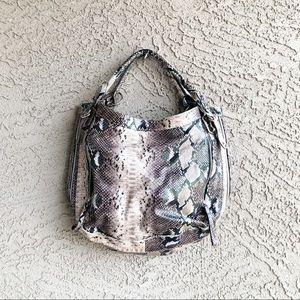 POPPIE JONES Faux Snakeskin Large Hobo Bag